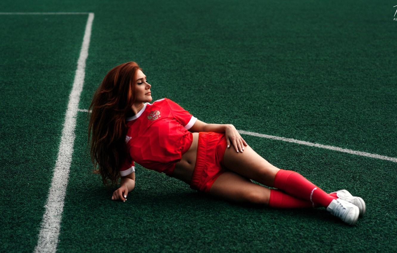 Photo wallpaper field, girl, lawn, football, model, shorts, figure, form, legs, the player, George Adcock, Diana Kostikova