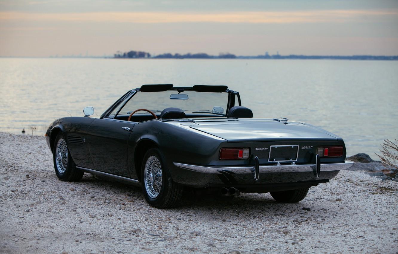 Photo wallpaper black, Maserati, 1969, back, Roadster, pond, spider, Ghibli Spider