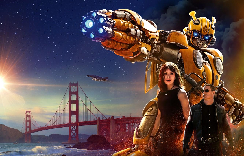 Photo wallpaper Girl, USA, Action, Car, Golden Gate Bridge, Clouds, Sky, Stars, Robot, Bridge, Alien, Night, Francisco, …
