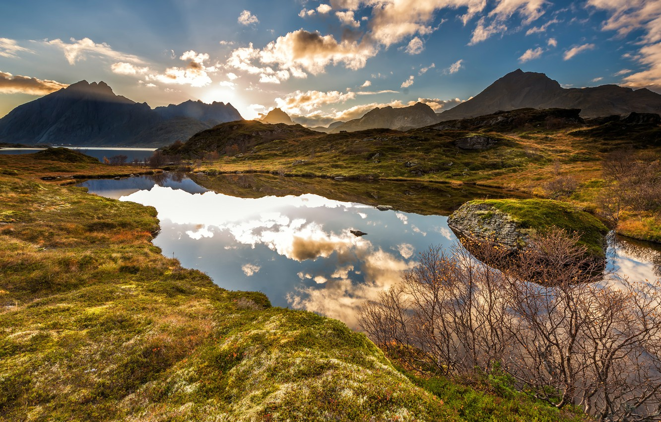 Photo wallpaper greens, autumn, the sky, grass, the sun, clouds, rays, light, landscape, mountains, branches, nature, lake, …