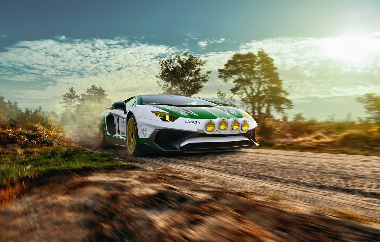 Photo wallpaper road, speed, Lamborghini, primer, Aventador, LP750-4 SV, Alitalia Tribute, THOMAS VAN ROOIJ