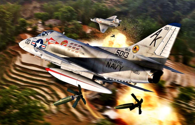 Photo wallpaper attack, Douglas, Deck, Skyhawk, The Vietnam war, A-4B