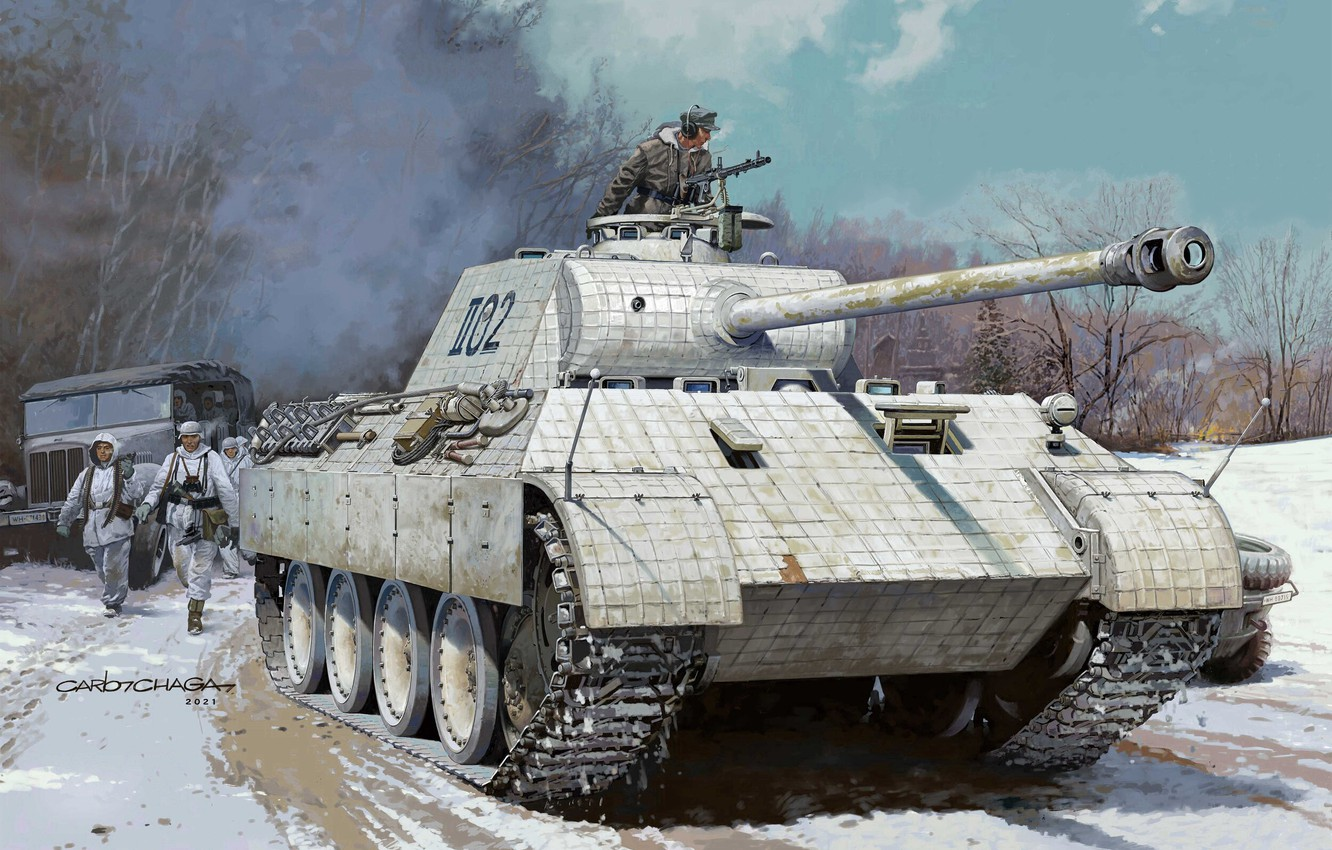 Photo wallpaper Germany, Soldiers, Tank, Panther, The Wehrmacht, Tanker