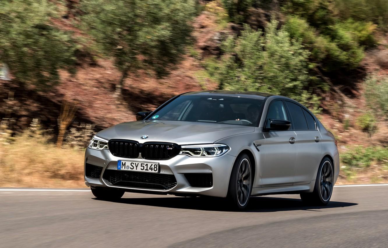 Photo wallpaper road, greens, stones, grey, BMW, slope, sedan, 4x4, 2018, four-door, M5, V8, F90, M5 Competition