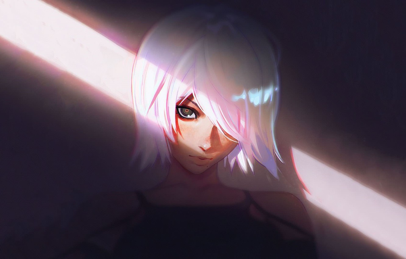 Photo wallpaper face, white hair, bangs, a beam of light, portrait of a girl, look at the ...