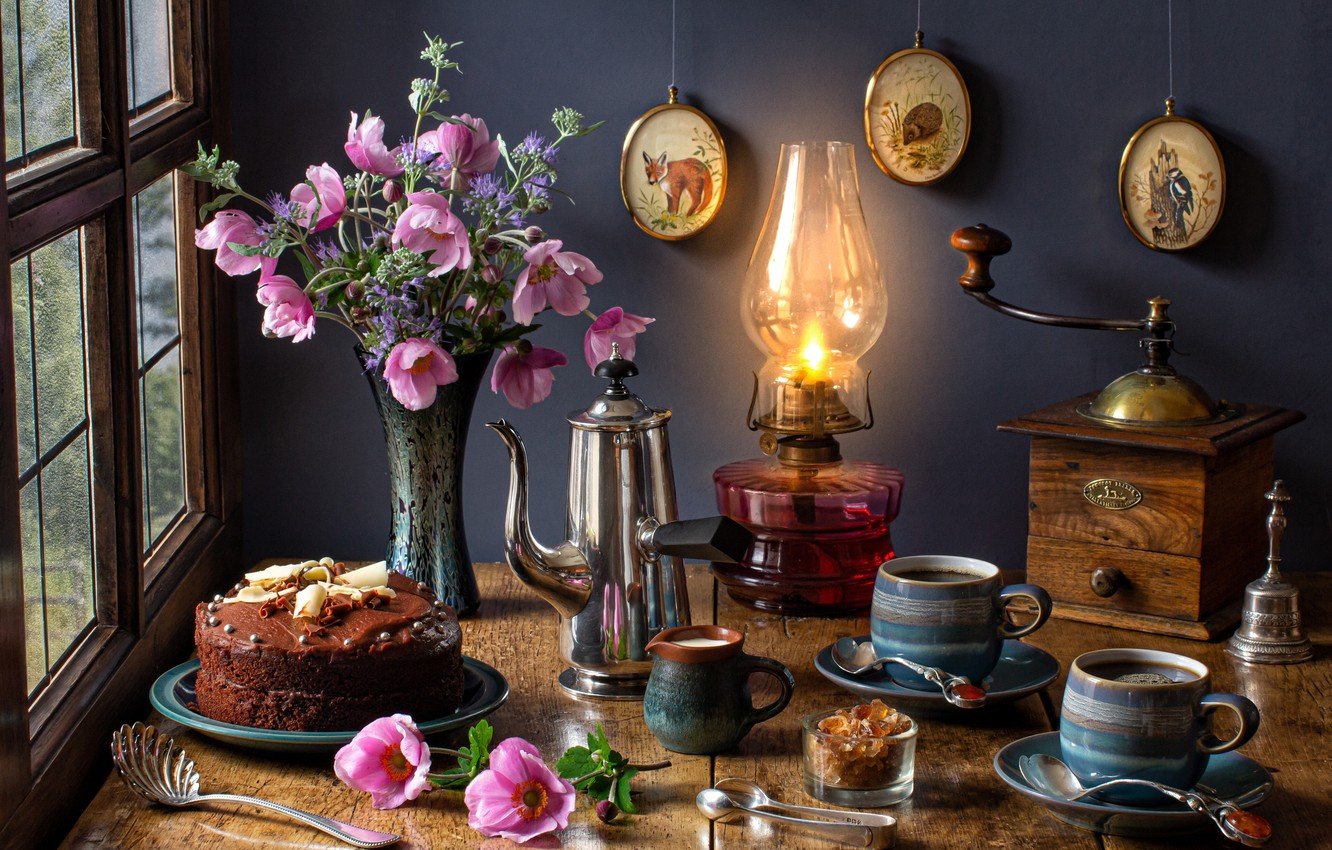 Photo wallpaper flowers, lamp, bouquet, cake, mugs, anemones, coffee grinder, coffee pot