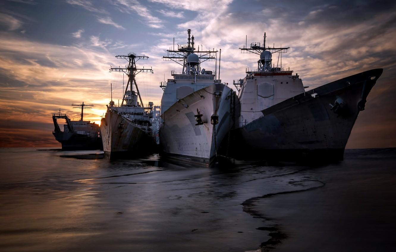 Photo wallpaper sea, sunset, shore, ships