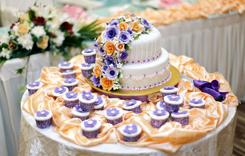 Photo wallpaper flowers, table, cake, decoration, wedding, decor, cupcakes, cupcakes