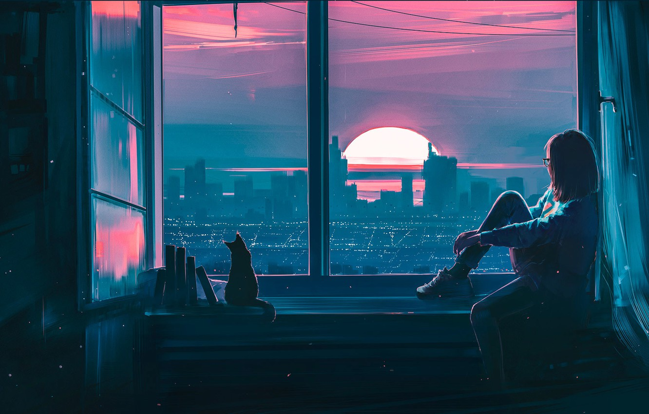 Photo wallpaper Sunset, Girl, The city, Cat, View, Cat, Window, Fantasy, Landscape, Art, Sunset, Concept Art, Characters, ...