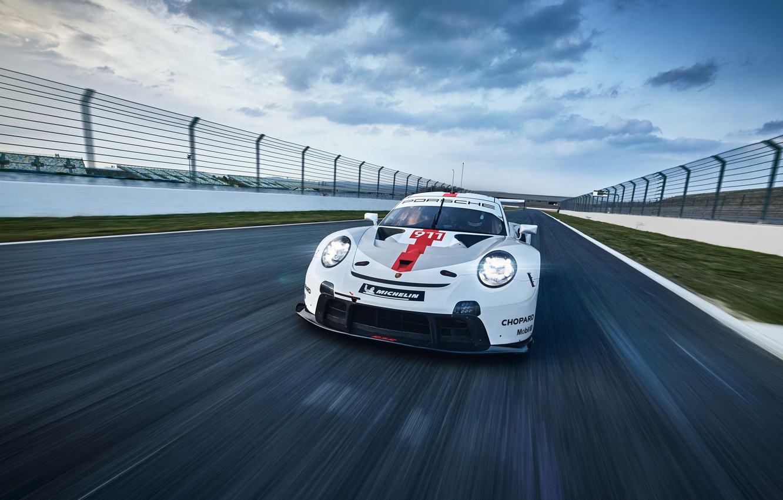 Photo wallpaper Speed, Lights, Track, Porsche 911, 2020, Porsche 911 RSR