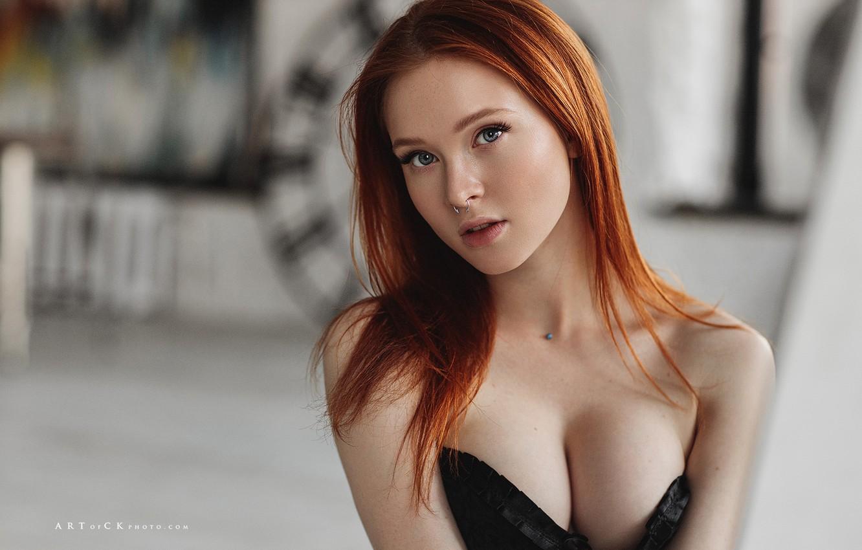 Photo wallpaper chest, look, girl, face, portrait, red, redhead, Stepan Kvardakov, Arina Bikbulatov