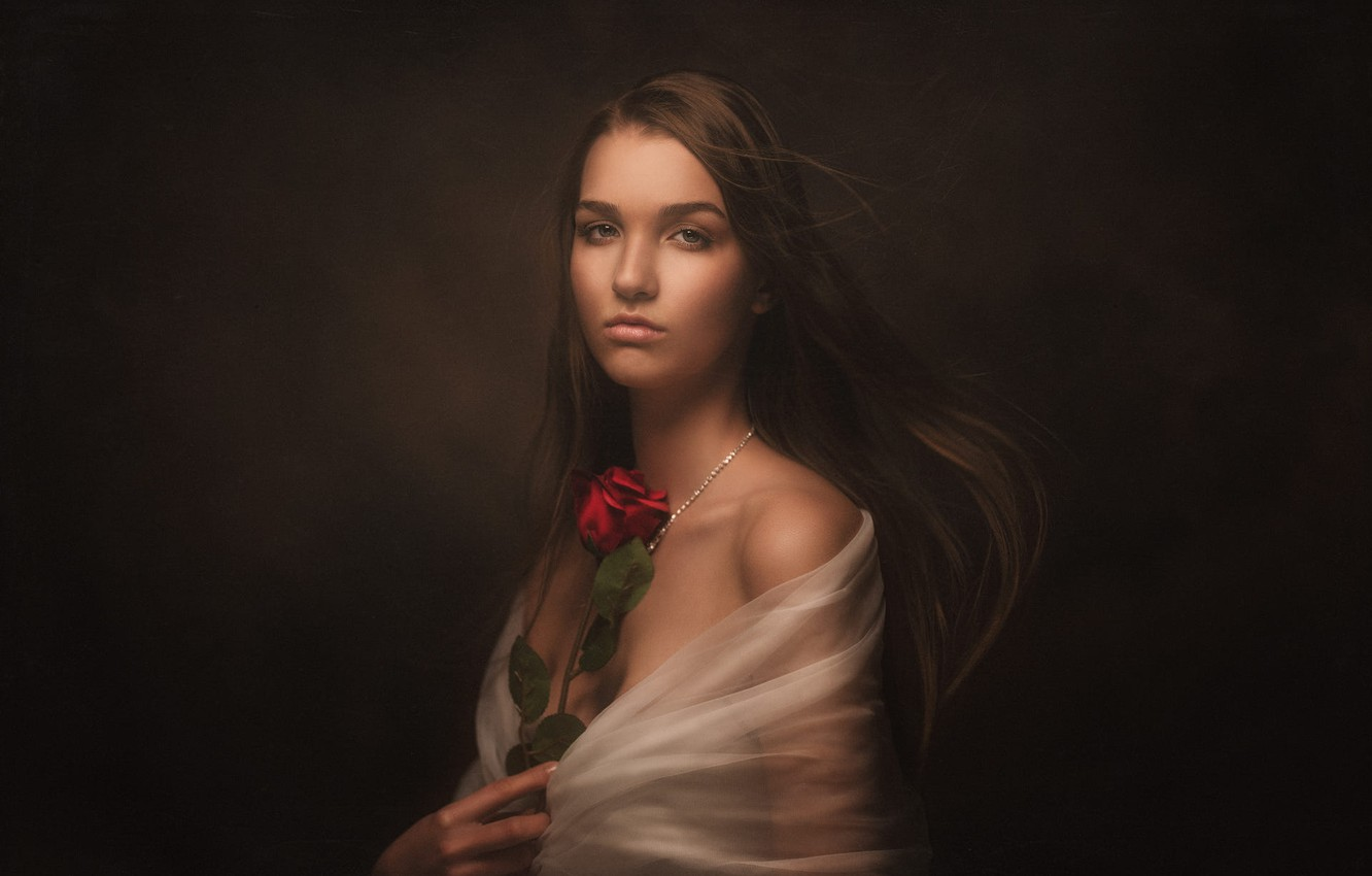 Photo wallpaper look, girl, face, the dark background, rose, portrait, Cape, long-haired