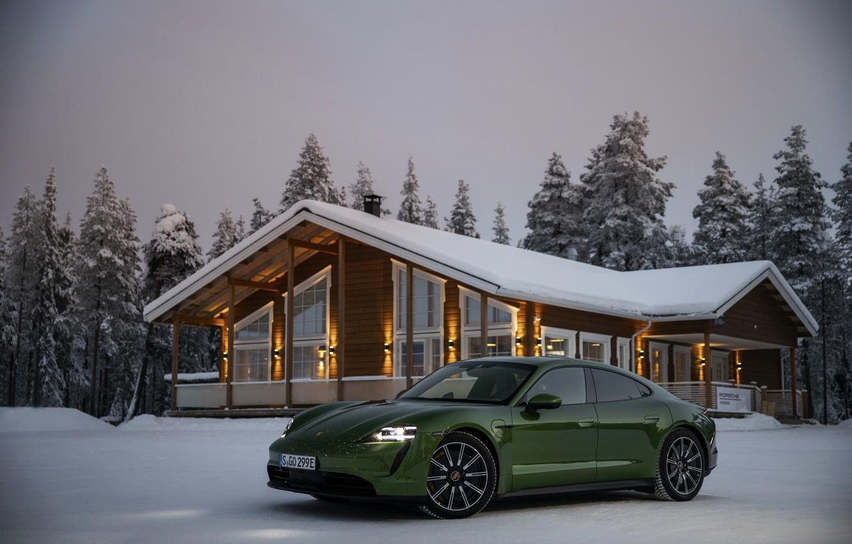 Photo wallpaper snow, Porsche, green, near the house, 2020, Taycan, Taycan 4S