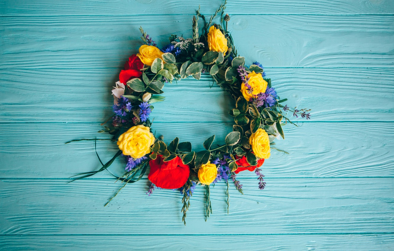 Photo wallpaper flowers, roses, yellow, colorful, summer, wreath, wood, flowers, roses