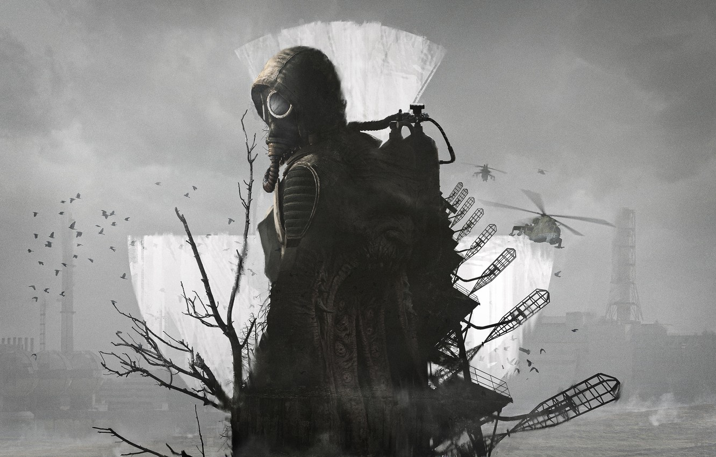 Photo wallpaper Tree, Birds, Radiation, Gas mask, Stalker, Stalker, Chernobyl, Pripyat, Art, Helicopter, S. T. A. L. …