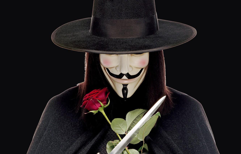Wallpaper Weapons Rose Hat Mask Wig Swords V For Vendetta