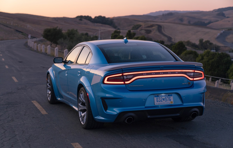 Photo wallpaper sunset, the evening, Dodge, rear view, Charger, Hellcat, SRT, Widebody, 2019, Daytona 50th Anniversary