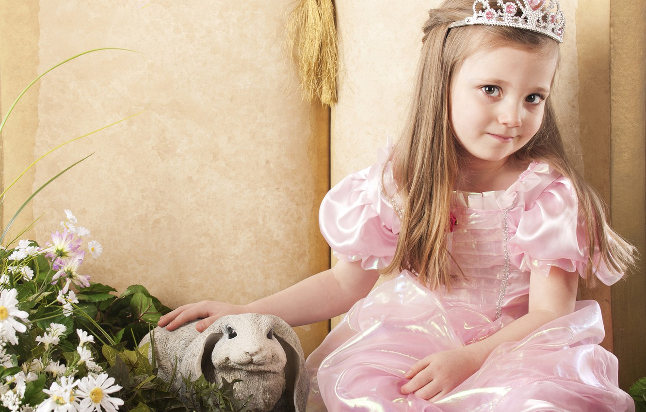 Photo wallpaper look, rabbit, dress, girl, Princess