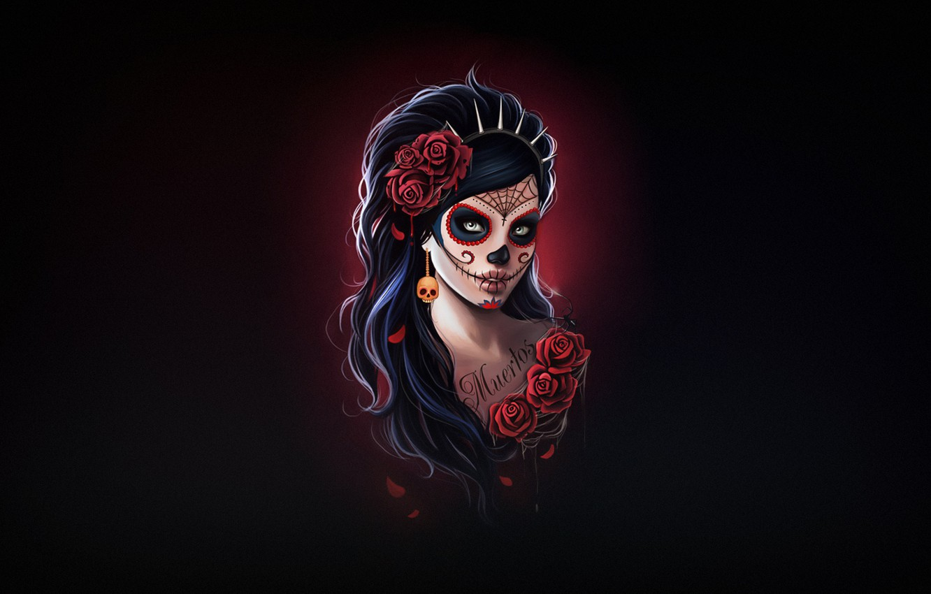 Wallpaper Girl Style Background Calavera Day Of The Dead Day