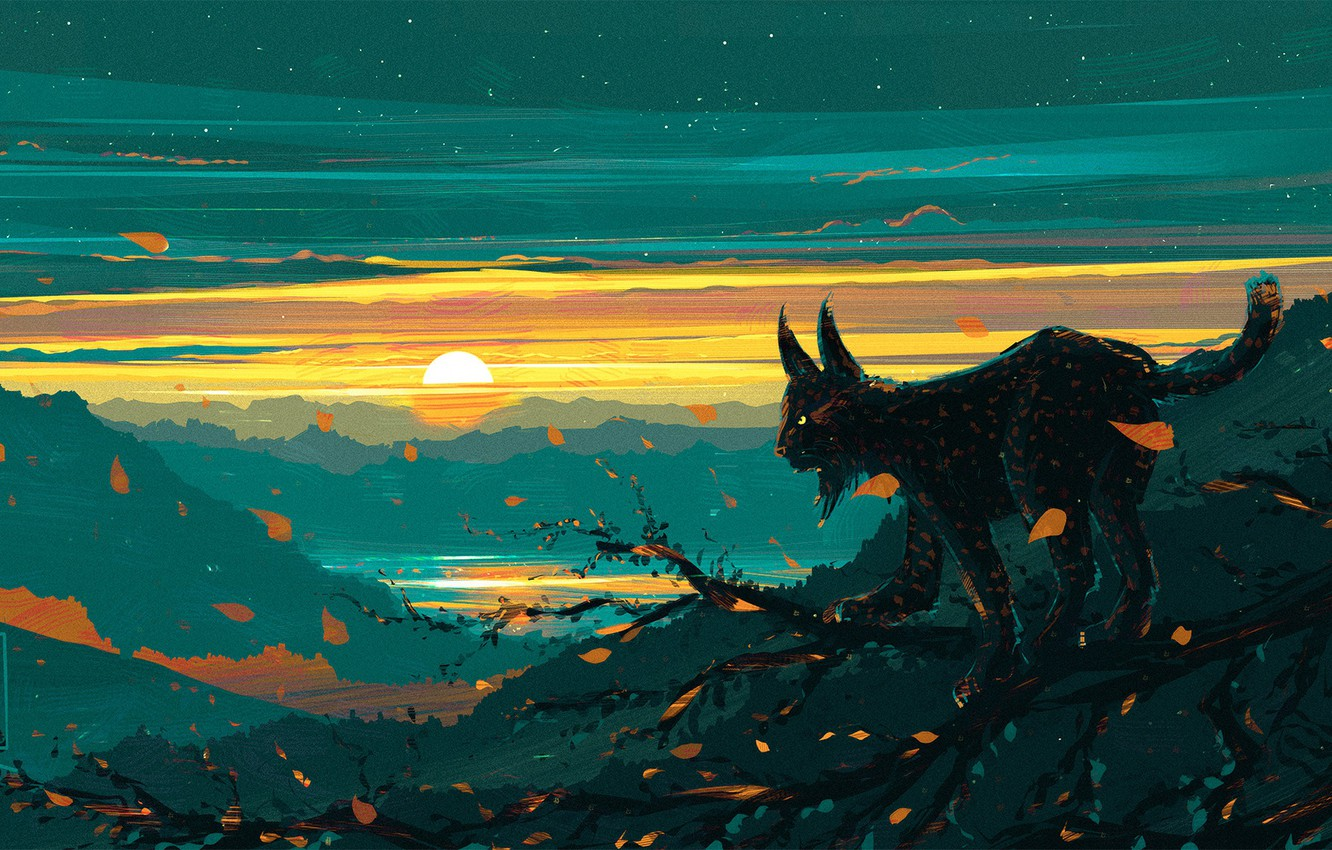 Photo wallpaper Figure, Cat, Art, Illustration, Lynx, Aenami, by Aenami, Alena Aenam The, by Alena Aenami, Aenami …