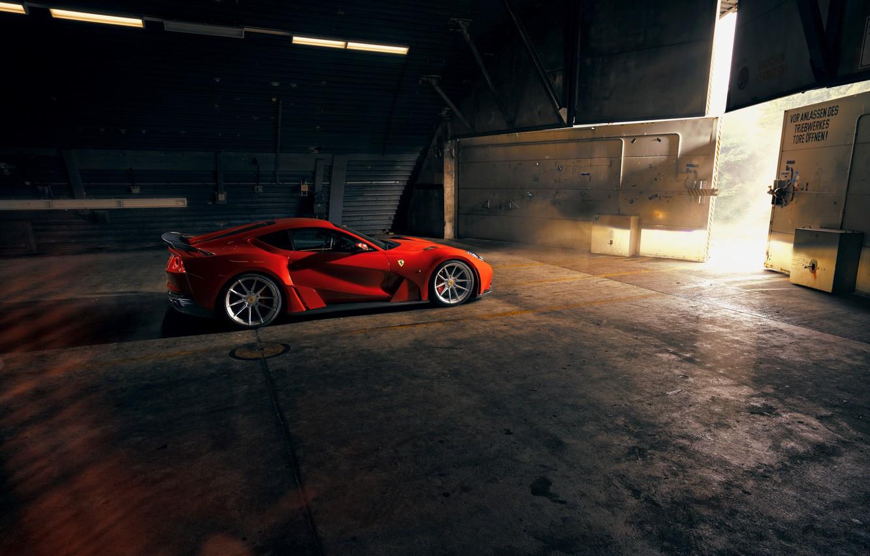 Photo wallpaper hangar, lights, Ferrari, sports car, Superfast, 812, Novitec N-Largo