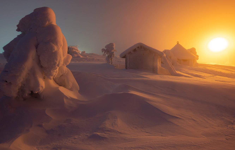 Photo wallpaper winter, the sun, snow, trees, landscape, nature, houses, Lapland, Andrey Bazanov