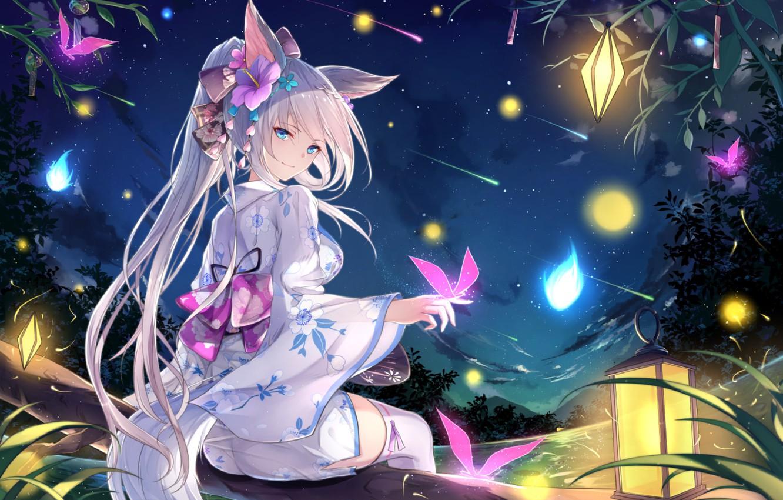 Photo wallpaper butterfly, night, smile, lights, lights, girl, tail, kimono, blue eyes, ears, art, flower in hair, …