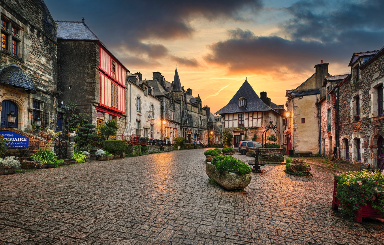 Photo wallpaper sunset, flowers, France, building, home, area, France, beds, Brittany, Brittany, Rochefort-en-Terre, Эдуард Горобец, Рошфор-ан-Тер