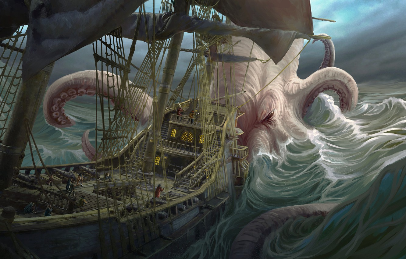 Photo wallpaper wave, people, ship, fantasy, art, octopus