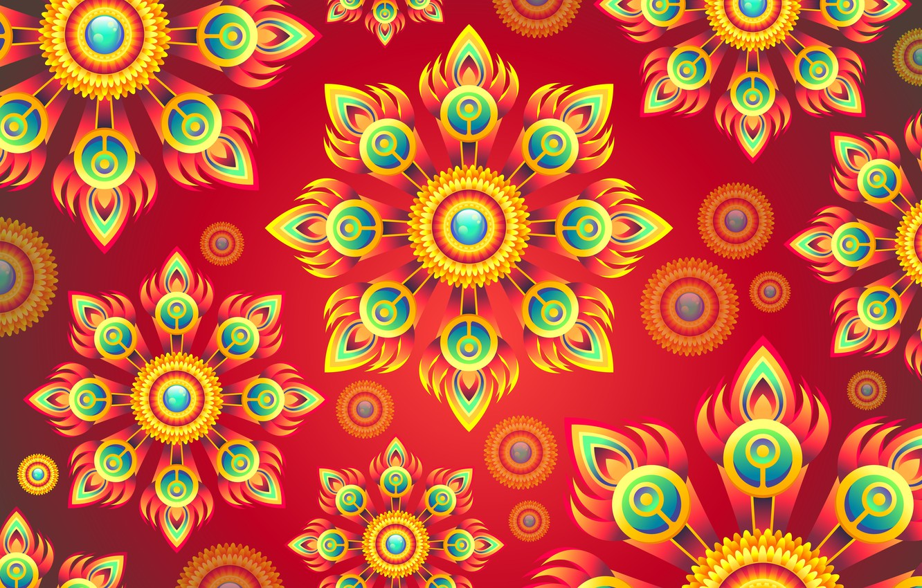Photo wallpaper flowers, abstraction, background, graphics, texture, ornament, background, digital art