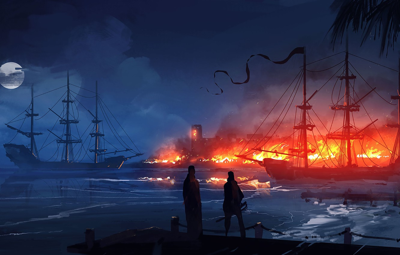 Photo wallpaper Port, Night, Fire, Ships, RAID, Illustration, Concept Art, Fort, Dominik Mayer, Zaton, Environments, by Dominik …