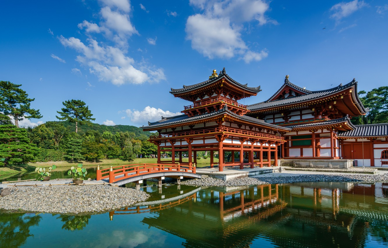 Photo wallpaper pond, reflection, Japan, temple, Uji, Kansai, Byodo-in