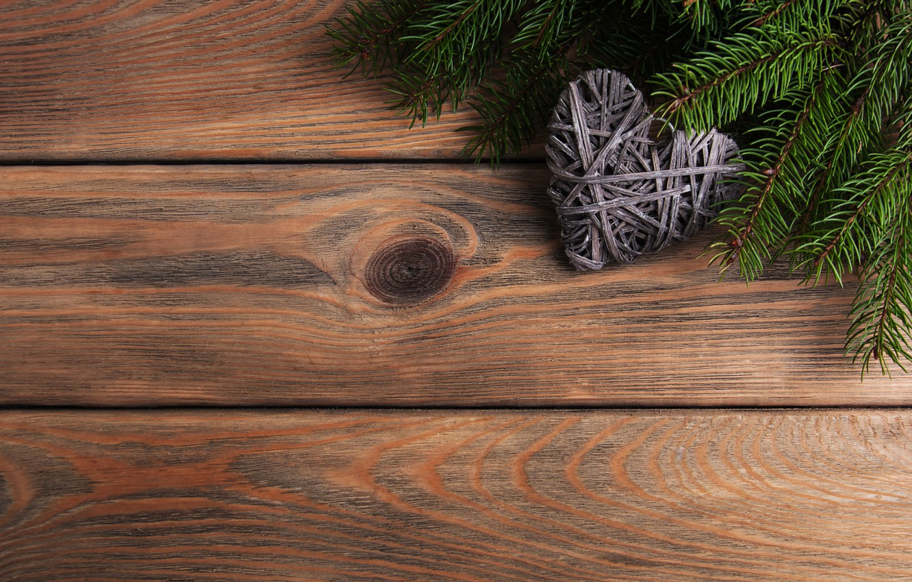 Photo wallpaper decoration, heart, New Year, Christmas, love, christmas, heart, wood, merry, decoration, fir tree, fir-tree branches