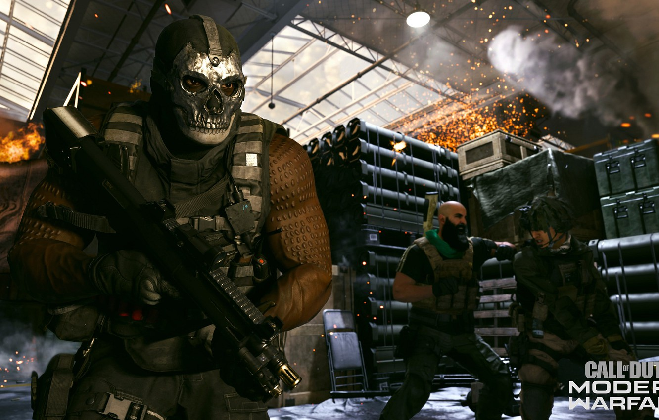 Wallpaper Weapons People Skull Man Mask Soldiers Call Of