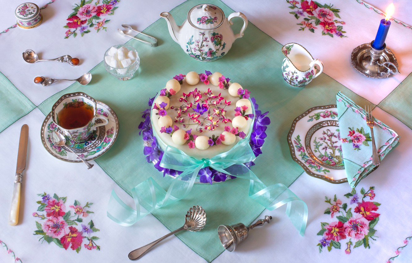 Photo wallpaper flowers, style, tea, candle, plate, Easter, knife, mug, tape, Cup, cake, sugar, bow, tablecloth, napkin, …