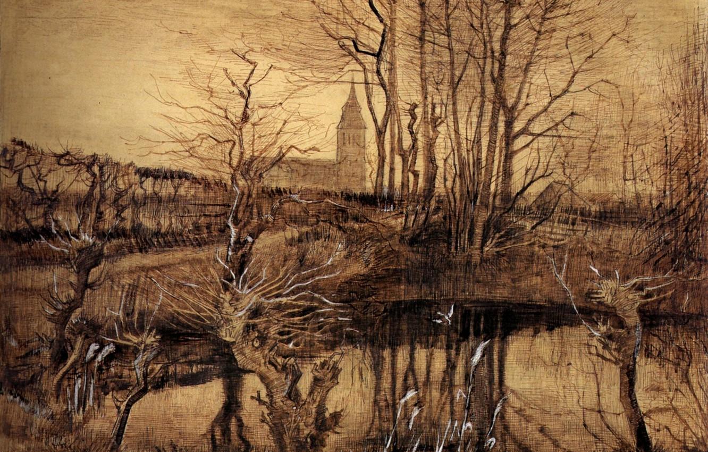 Photo wallpaper branches, lake, Vincent van Gogh, The Kingfisher
