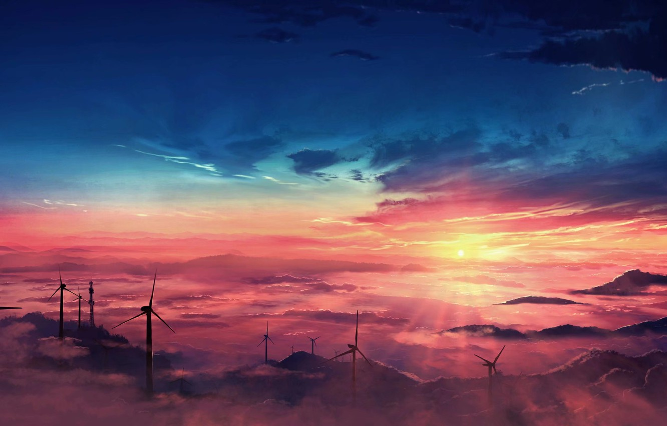 Photo wallpaper the sky, clouds, sunset, windmills