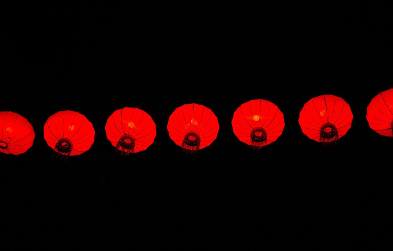 Photo wallpaper background, black, minimalism, lanterns, Chinese lanterns
