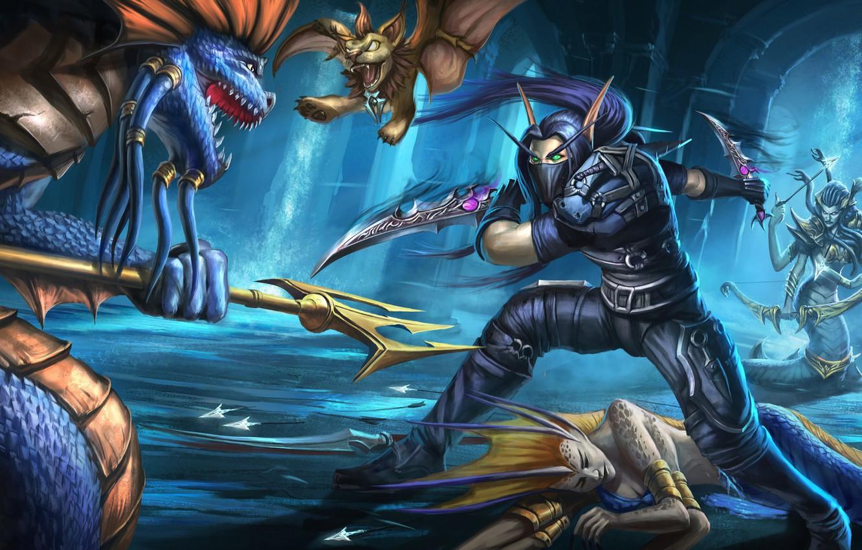 Photo wallpaper warrior, the battle, World Of WarCraft, Medusa
