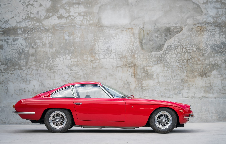 Photo wallpaper Red, Side view, Lamborghini 400GT