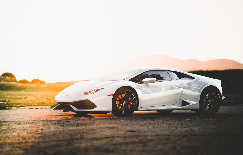 Photo wallpaper Lamborghini, Sunset, White, Evening, VAG, Huracan