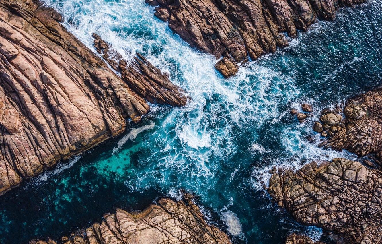 Photo wallpaper sea, wave, landscape, nature, rocks, shore