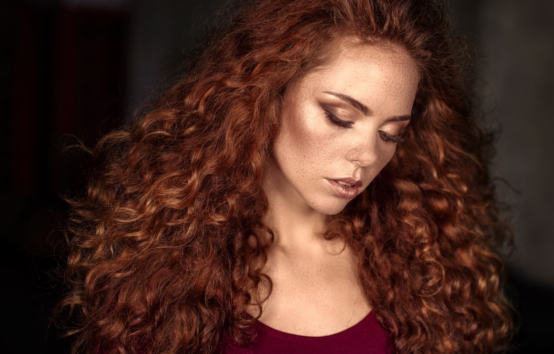 Photo wallpaper girl, face, portrait, makeup, freckles, red, curls, redhead, Oksana Shkuratovska