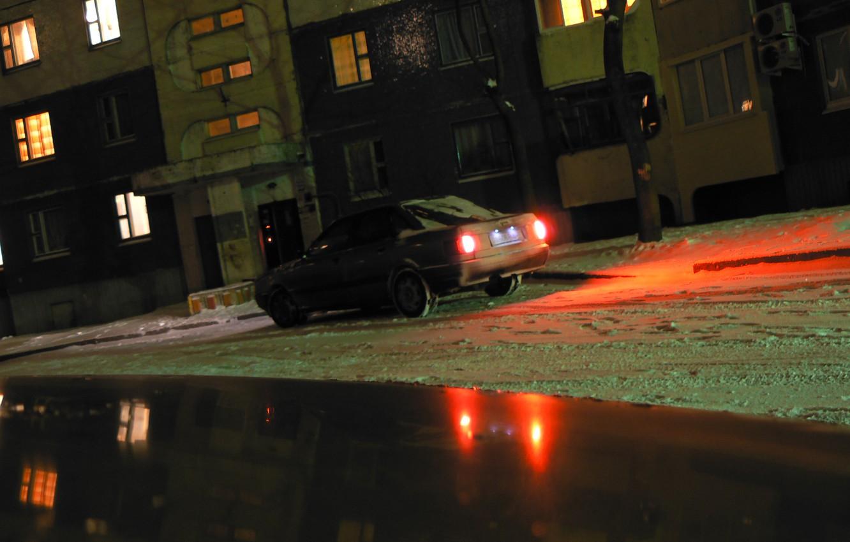Photo wallpaper winter, Belarus, Mogilev, my photo, night scene, Tekhnopribor, audi 80