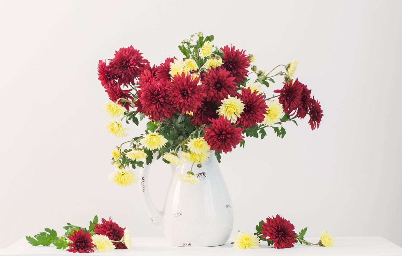 Photo wallpaper flowers, vase, Still life, chrysanthemums, Maya Kruchenkova