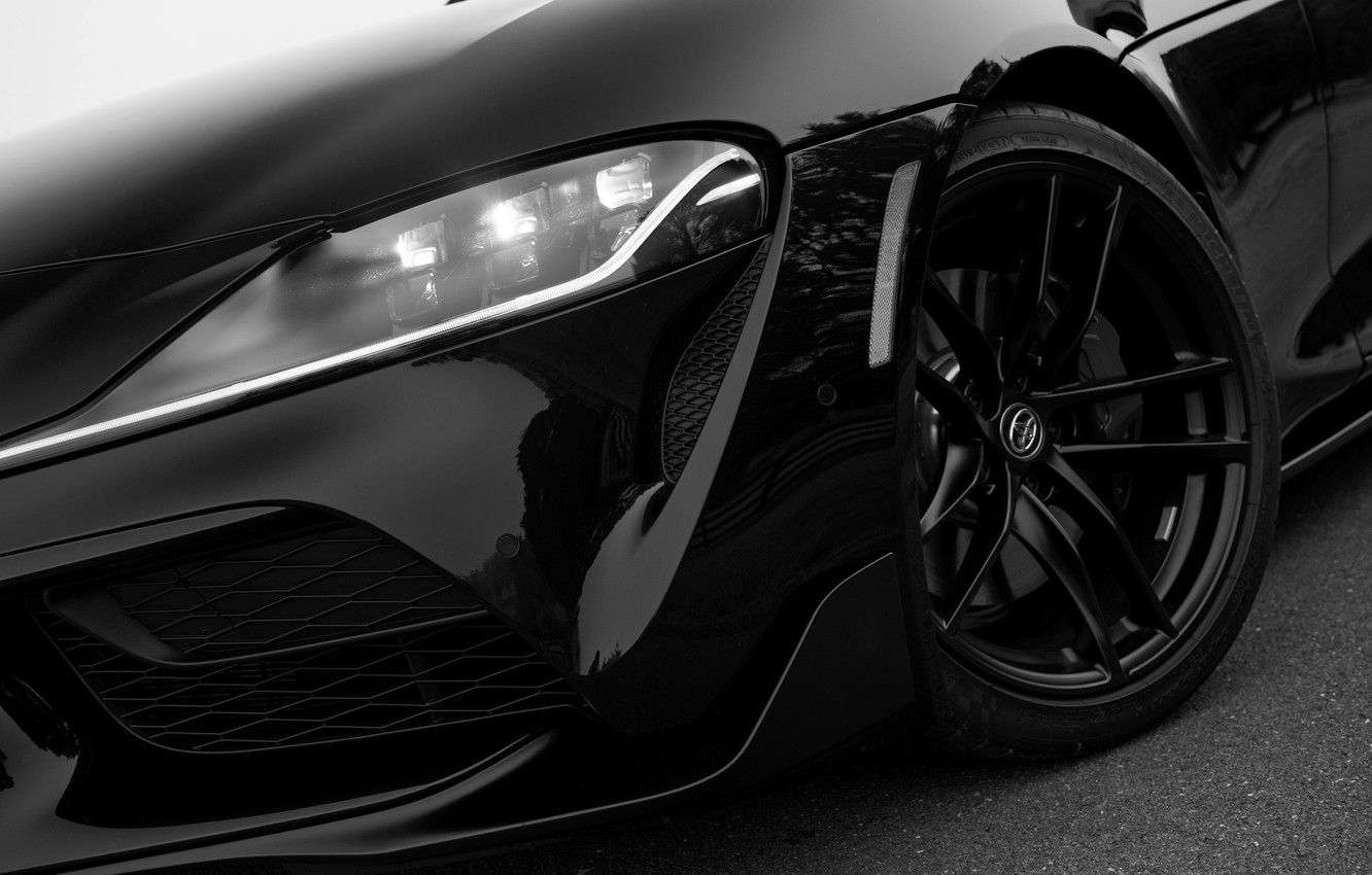 Photo wallpaper black, coupe, Toyota, bumper, Supra, the fifth generation, mk5, double, 2020, 2019, GR Above, A90, …