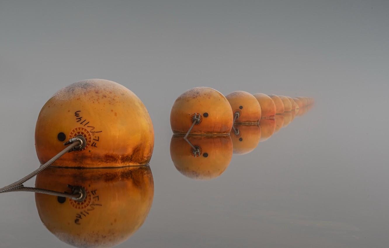 Photo wallpaper lake, background, buoys