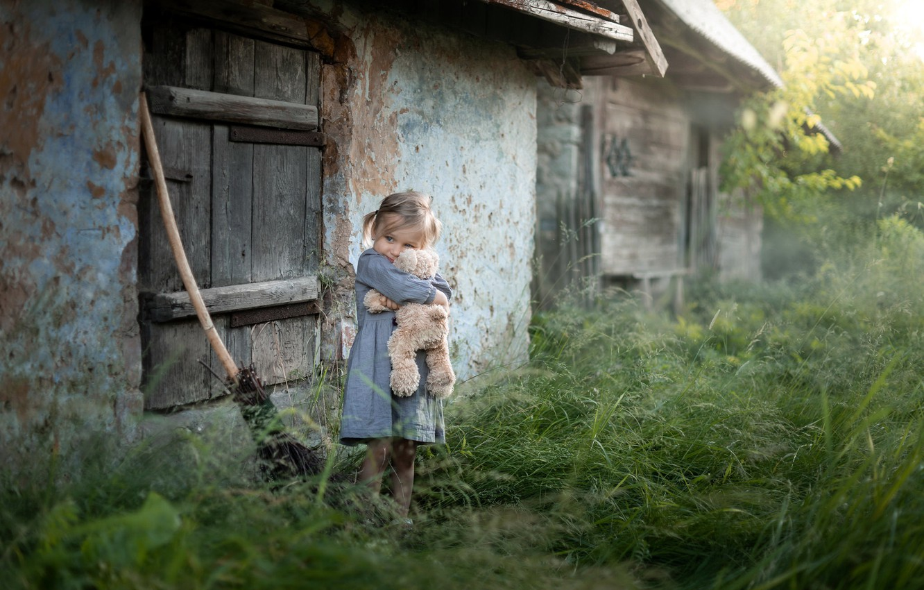 Photo wallpaper childhood, house, bear, girl