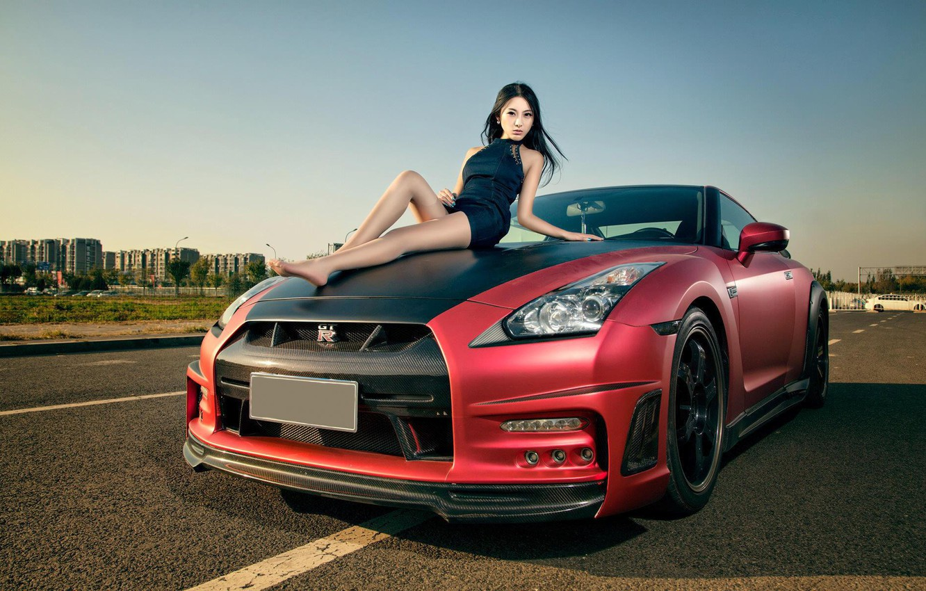 Photo wallpaper auto, look, Girls, Nissan, beautiful girl, posing on the hood of the car