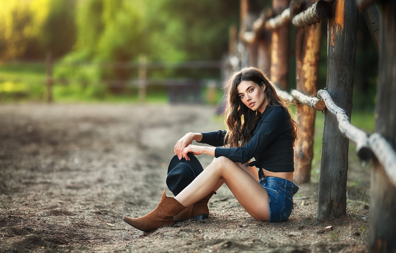 Photo wallpaper look, girl, nature, the fence, shorts, hat, brunette, blouse, boots, Anastasia Barmina, Anastasia Barmina